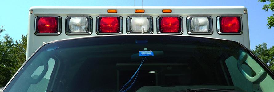 Ambulance windshield and emergency lights